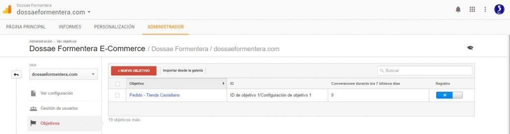 Creación de Embudos de Conversión en Google Analytics - Crear Objetivo