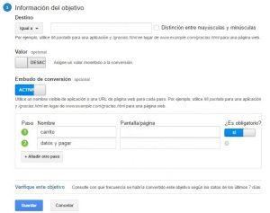 Creación de Embudos de Conversión en Google Analytics - Información del Objetivo