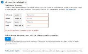 Información del Objetivo en Google Analytics