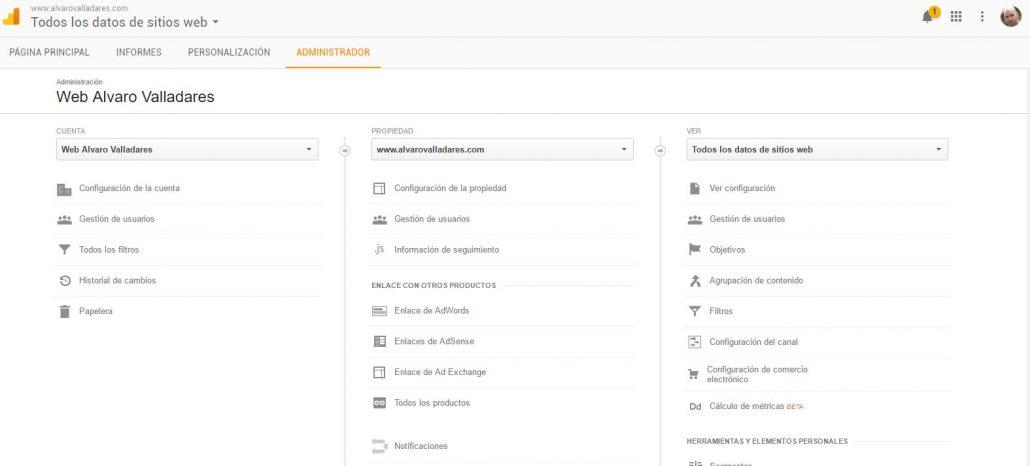 Administración de Objetivos en Google Analytis