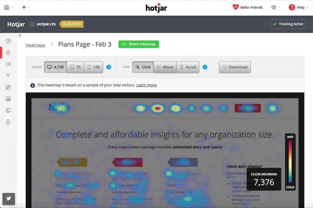 Hotjar, una herramienta que nos ofrece mapas de calor con las interacciones de los usuarios