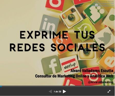 Presentación en SlideShare Exprime tus redes sociales