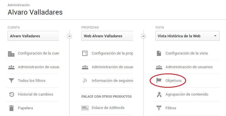 "Los ""Objetivos"" en Google Analytics se establecen a nivel de ""Vista"""