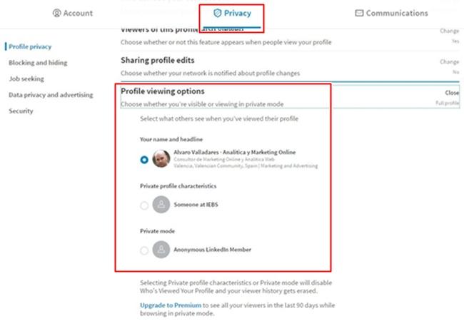 Modificación de nuestra visibilidad cuando vemos otros perfiles en LinkedIn