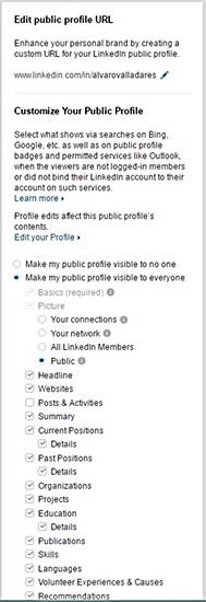 Configurar que secciones queremos visualizar de nuestro perfil de LinkedIn