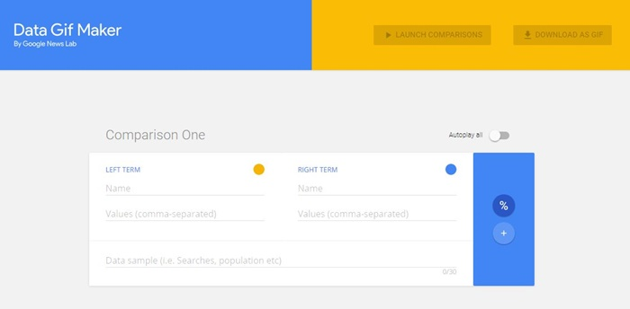 Interface de Google Data Gif Maker